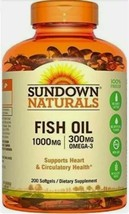 Sundown Naturals 1000mg FISH OIL 300mg Omega-3 200 Softgels Exp 5/21 - $11.99