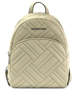 Michael Kors Abbey Quilted Backpack Bag Cement Grey Medium Leather - $371.04