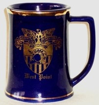 Cobalt Blue Ceramic Mug Gold Accents West Point Lewis Bros Ceramics Yonkers - $14.24
