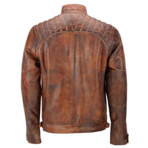 Mens Vintage Biker Distressed Brown Motorcycle Quilted Cafe Racer Leather Jacket image 3
