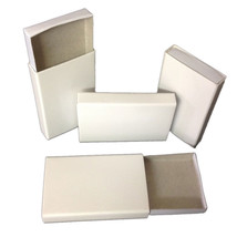 25 Plain white cardboard slide tray wooden match type candy storage favor boxes - $7.91