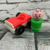 Vintage Fisher Price Little People Replacement Red Car & Green Man Figure - $15.84