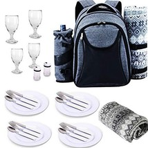 Scuddles Picnic Backpack Basket 4 Person Picnic Set Great Weddings Or An... - $955,60 MXN