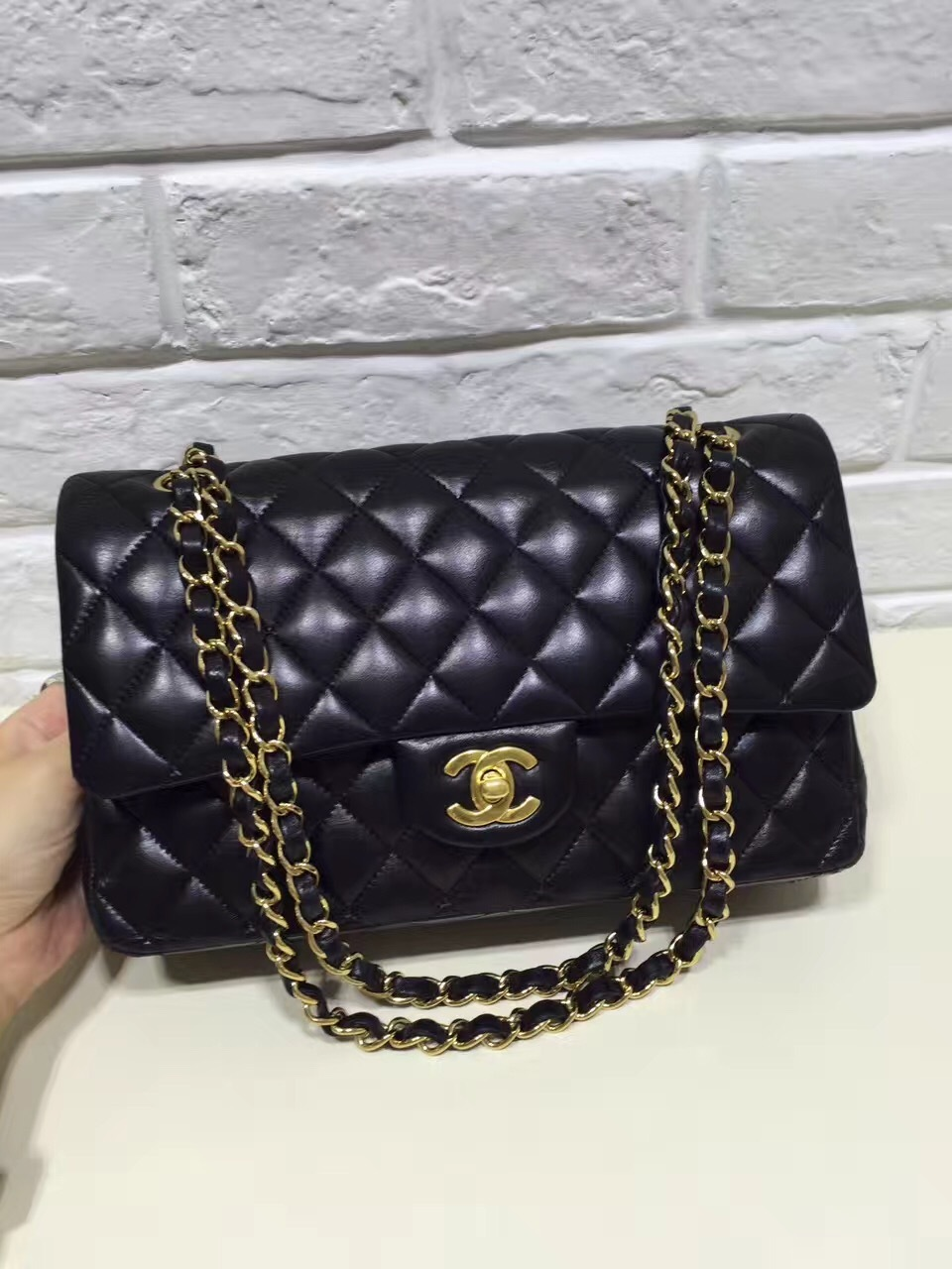 910f37fb3d7a Authentic Chanel Classic Black Quilted Lambskin Medium Double Flap ...