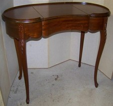 mahogany kidney vanity dressing table w/mirror, 2 drawers - $199.00