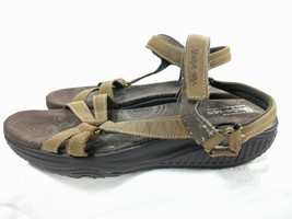 Womens Skechers Shape Ups 12290 Brown Leather Ankle Strap Sandals Size 9.5 - $28.01