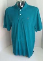 IZOD Men's Large Polo Shirt Silk Wash 100% Cotton Short Sleeves Teal  - $14.99