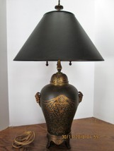 Black & Gold Asian Oriental Table Lamp  Black Shade Triple Pull Chain So... - $216.81