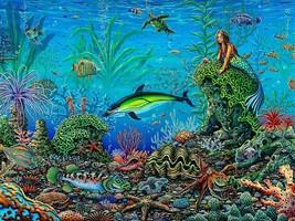 Octopus Garden by Michael Fishel Ocean Underwater Mermaid Metal Sign - $29.95