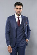 Men Three Piece Vested Suit WESSI by J.VALINTIN Extra Slim Fit JV20 Navy... - $99.97