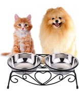 CICO Pet Feeder For Dog Cat, Stainless Steel Food And Water Bowls With Iron - $42.94
