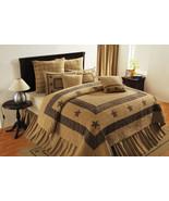 Rustic Primitive Burlap Star queen bed quilt 4/set Lodge Cabin Farmhouse - $239.99
