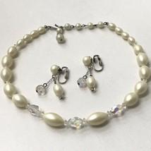 Vintage Aurora Borealis Necklace And Earrings Set - $10.89