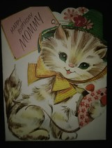 Sweet Cat For Mommy Vintage Birthday Card - £3.06 GBP