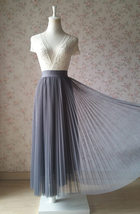 Gray Pleated Long Tulle Skirt Plus Size Pleated Tulle Tutu Skirt High Waisted image 1