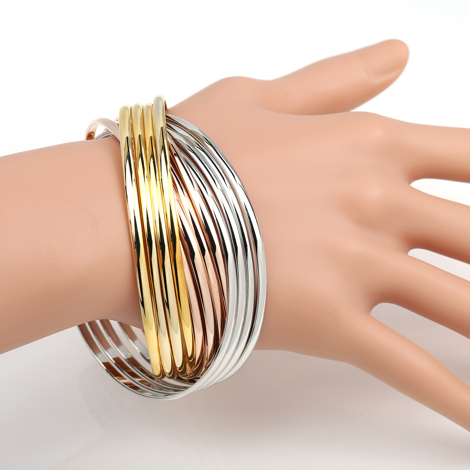 UE-Contemporary 12-Strand Tri-Color (Rose, Silver, Gold Tone) Bangle Bracelet
