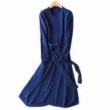 Women's Plus Size Casual  Sweater Dress Blue cashmere blending round neck  - $46.55