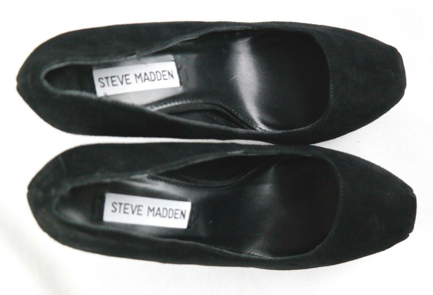 Steve Madden Sarrina Platform Pumps Womens Sz 7.5 Black Suede High Heel Shoes image 9