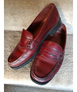 BASS Weejuns Penny Loafers 7 1/2 W Leather Reddish Brown - $71.28