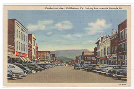 Cumberland Avenue Cars Middlesboro Kentucky linen postcard - $5.94