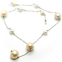 18K WHITE GOLD LARIAT NECKLACE, VENETIAN CHAIN WHITE & PEACH BIG PEARLS 16 MM image 1