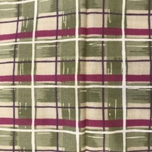 Daisy Kingdom Donna Dewberry Fabric Material Small Plaid Green Purple Springs - $10.42
