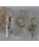 Handcrafted Glass Cork Bottle Necklace Fairy Moon Amethyst Crystals .925... - $21.99