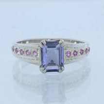 Blue Purple Iolite Pink Sapphire Handmade Sterling Silver Ladies Ring size 8.75 - £80.46 GBP