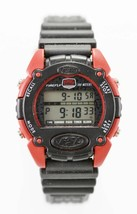 Fossil Watch Mens Red Plastic Black Rubber Alarm Day Date Light Stopwatc... - $23.86