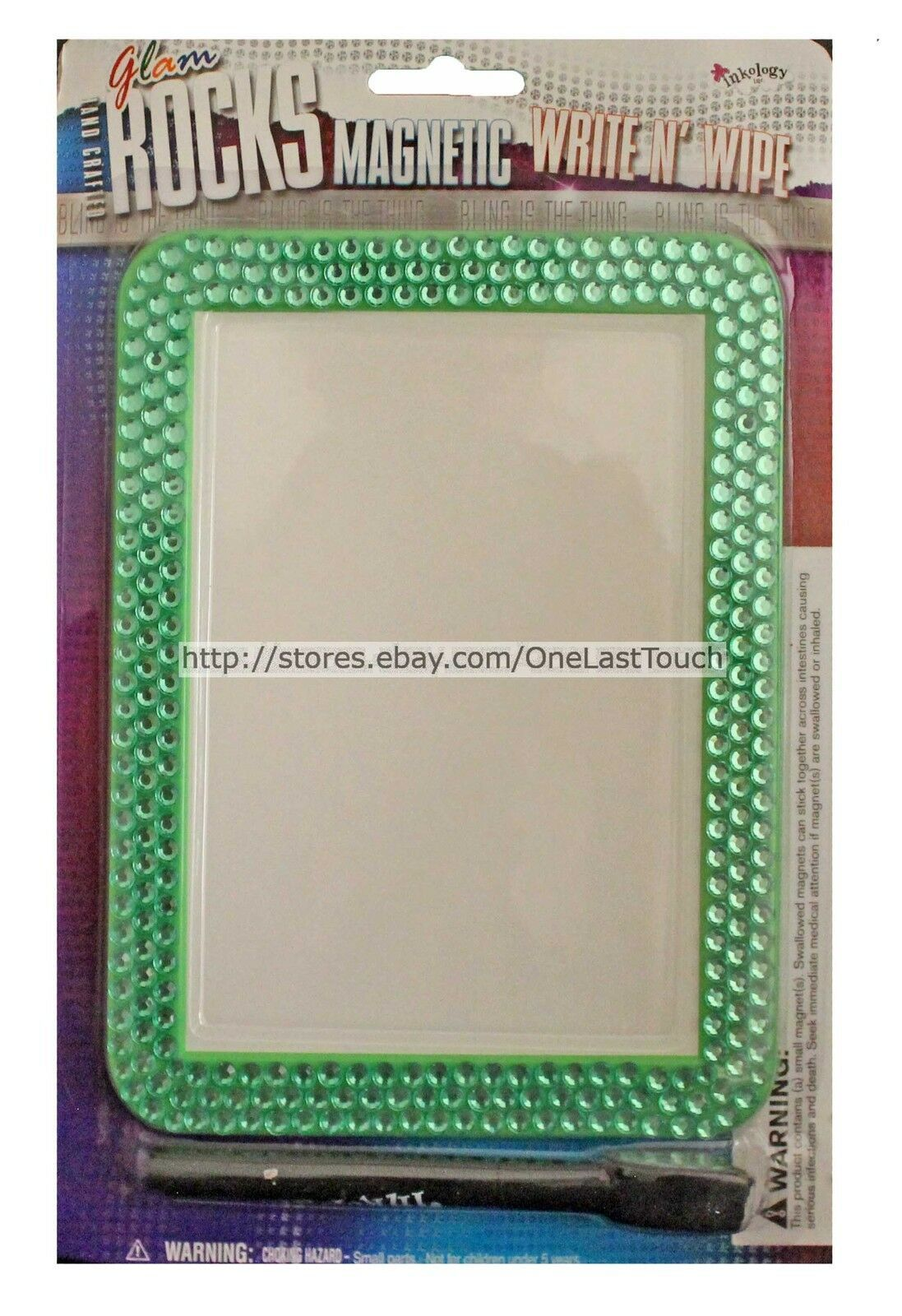GLAM ROCKS* Hand Crafted GREEN BLING Rhinestones MAGNETIC WRITE N WIPE Dry Erase