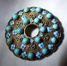 1950s Oriental Gold Vermeil Silver Mesh CIRCLE PIN Turquoise Balls Ename... - $133.65