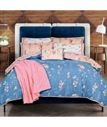 Cerulean Blue Flowers & Butterflies Reversible Comforter Set KING Size 4PCS - $137.51