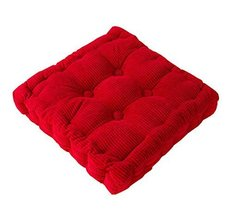 Thicken Soft Cushion Tatami Floor Cushion Office/Car Square Pillow-Red - $22.29