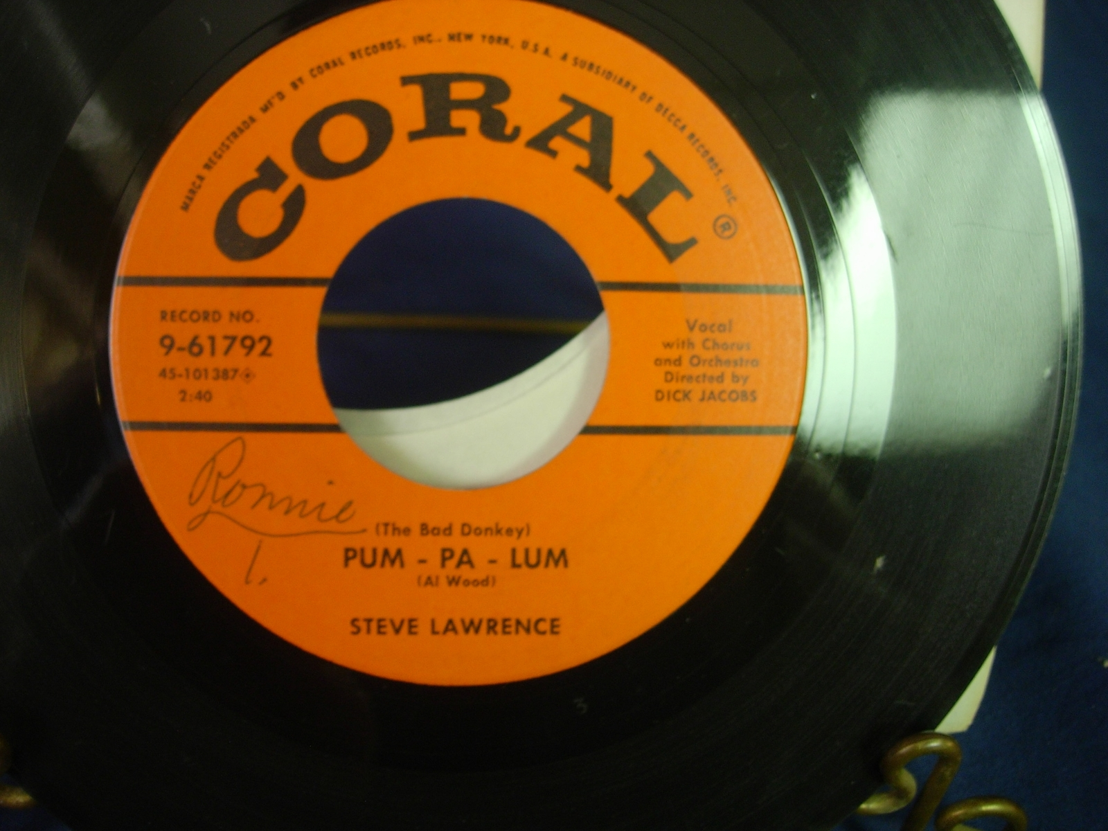 Steve Lawrence - Party Doll / Pum Pa Lum - Coral Records 9-61792