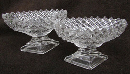 2 Westmoreland English hobnail open salt nut cups clear glass - $9.50