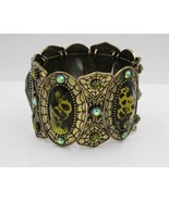 Fashion Statement Cuff Bracelet Simulated Green Art Style Cabochons & Cr... - $19.79