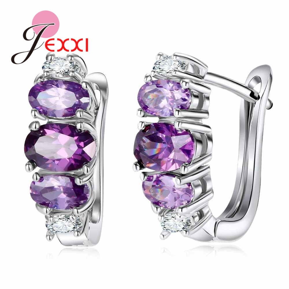 Primary image for Hot Fashion  Girls Earring Bijoux Silver Purple CZ Stone Hoop Earrings For Women