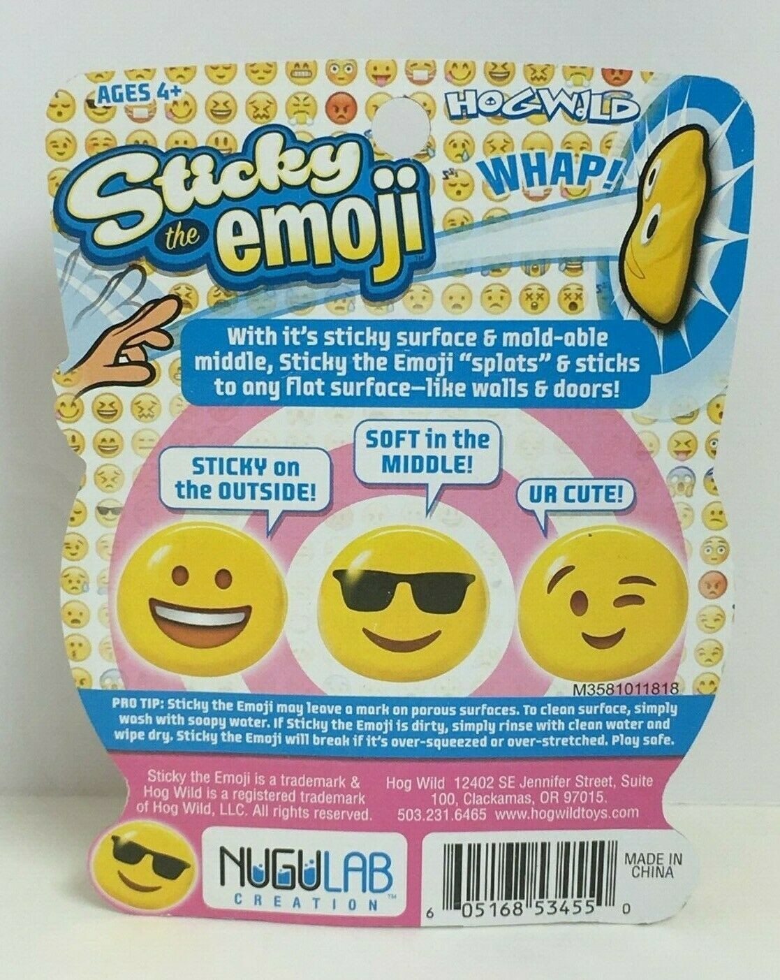 HogWild Yellow Sticky The Emoji Laughing Emoji Stikball W/ Mold-Able Middle