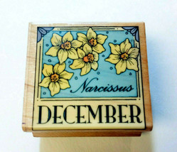 December Birthday Flower Rubber Stamp Narcissus Calendar Month Hero Arts 1995 - $9.88