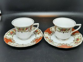 Pair Japanese demitasse cups and saucers in very good vintage condition - $22.00