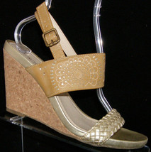 Kenneth Cole Reaction 'Skip Class' gold ankle strap cork wedge heel 10M 4884 - $30.53