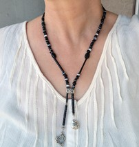 Black statement necklace, designer necklace, peace (183) - $28.00