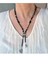 Black statement necklace, designer necklace, peace (183) - $19.00