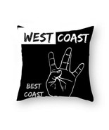 'West Coast Best Coast' Polyester Square Double sided Pillow Case + Insert - $20.58