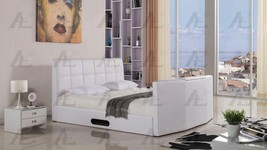 White PU Eastern King Sleigh Bed with TV Storage Space American Eagle B-... - $1,337.00