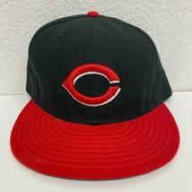 New Era Cincinnati Reds Baseball Hat Men's Size 7 3/4 MLB Black Red - $12.16