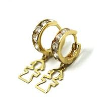 18K YELLOW GOLD PENDANT EARRINGS, MINI CUBIC ZIRCONIA HOOPS WITH GIRL PENDANT image 2