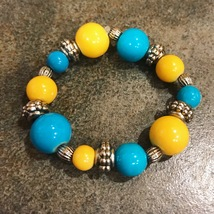 Blue & Yellow Glass Beads - Baby/Toddler Bracelet - $4.00