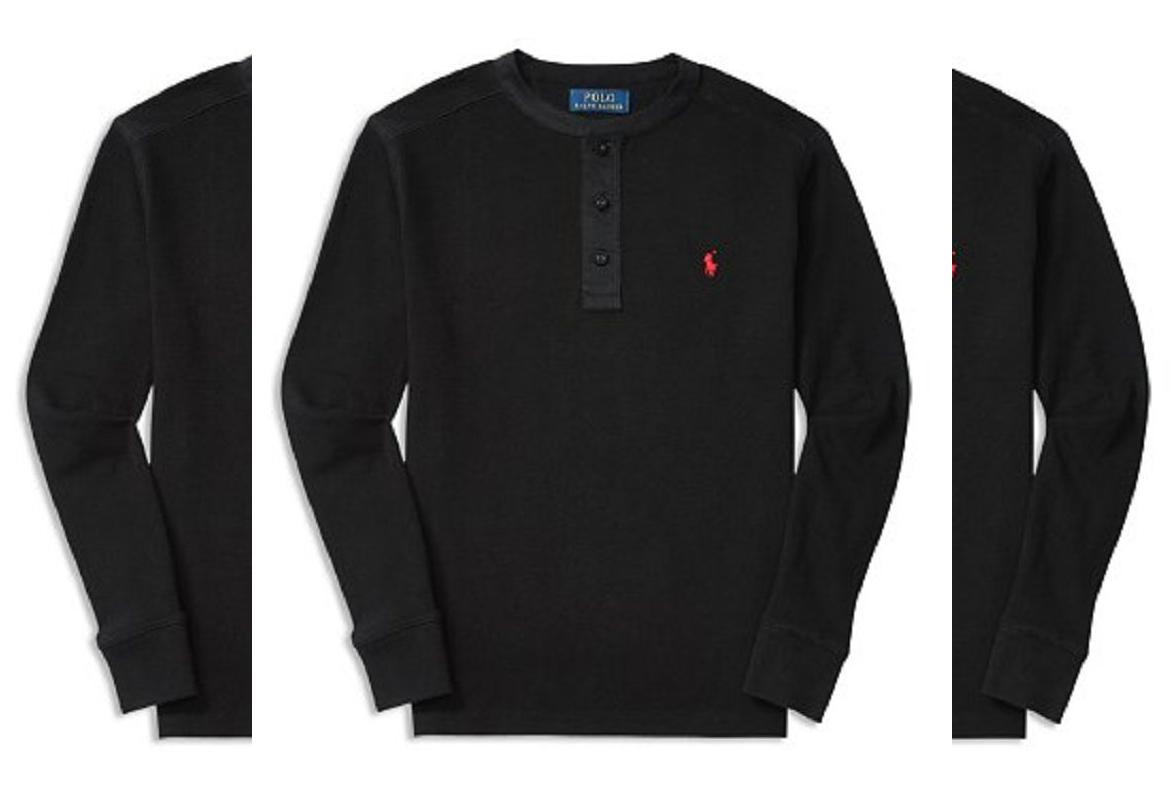 Ralph Lauren Childrenswear Pique Henley Polo Tee, Black, 4/4T - $24.74