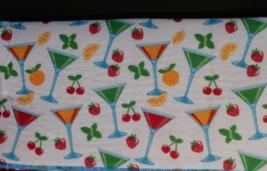 COCKTAILS Design KITCHEN TOWELS 3pc Set Blue Fruit Bar Drinks Martini Ma... - $9.99